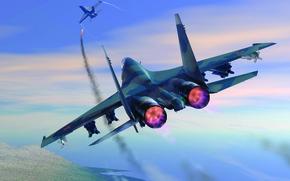 Wallpaper Su-27, F-18, knocks