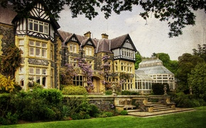 Picture grass, trees, house, treatment, garden, UK, mansion, the bushes, Wales, Bodnant Gardens