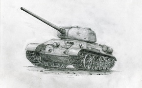 Wallpaper pencil drawing, Soviet tank, T-34