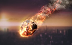 Picture meteorite, fire, atmosphere, friction, energy