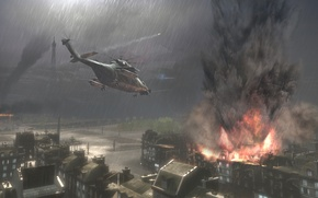 Wallpaper building, helicopter, rain, explosions