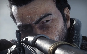 Picture look, face, rifle, scar, aiming, Assassin's Creed, Rogue, Outcast, Shay