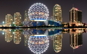 Picture night, lights, reflection, Canada, Vancouver