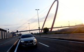 Picture road, car, sedan, silver, Lada, new, Lada, Vesta, Vesta, 2180