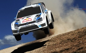 Picture Auto, White, Volkswagen, Speed, Jump, Day, Lights, WRC, Rally, Polo, Ancestor