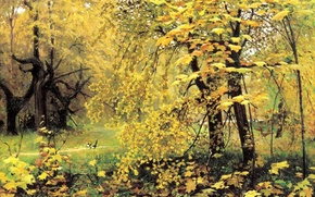 Picture picture, nature, Ostroukhov, painting, figure, forest, Golden autumn, magpies, landscape