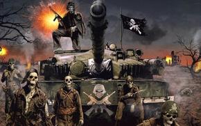 Picture Flag, Soldiers, Gun, Tank, Explosions, Tank, Skeletons, Skulls