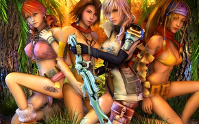 Picture forest, girls, sword, tattoo, Final Fantasy XIII