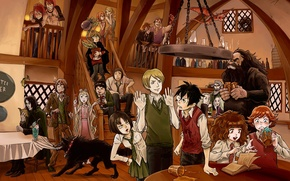 Picture dragon, wolf, characters, Ron, Hermione, harry potter, gagret, the pub, Bedlam