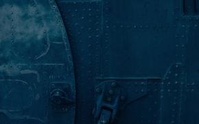 Picture blue, metal, the door