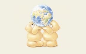 Picture mood, the world, planet, ball, art, Earth, bear, friendship, children's, Forever Friends Deckchair bear