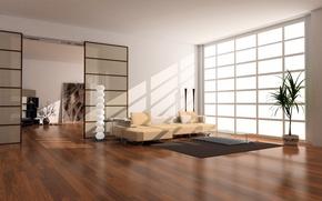 Picture design, style, room, sofa, carpet, interior, plants, pillow, window, vase, apartment