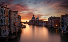 Picture light, night, the city, lights, home, the evening, excerpt, Italy, Venice, The Grand canal (Grand ...