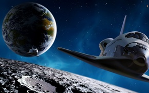 Picture space, earth, the moon, Shuttle, endevour. stars