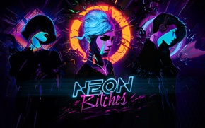 Picture music, girl, neon, cyberpunk, bitch, bitches, synthwave