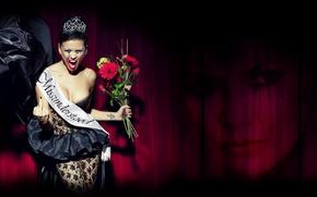 Picture Brunette, Model, Crown, Tattoo, Dress, Nina Osenar, Backgrounds, Decollete, Bouquet Of Flowers, Potekshy Makeup, Miss …