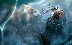 Picture snow, mountains, lightning, warrior, art, horns, Viking