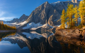 Picture autumn, the sky, snow, trees, mountains, lake, reflection, Canada, british columbia, kootenay