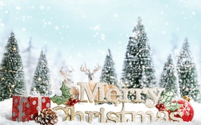Wallpaper snow, decoration, snowflakes, tree, new year, gifts, new year, deer, snow, ornaments, merry christmas, decoration, ...