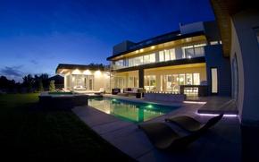 Picture light, night, Villa, pool