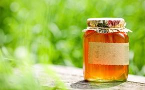 Wallpaper bokeh, table, honey, jar