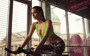 Picture girl, pose, sport, makeup, figure, brunette, hairstyle, beauty, fitness, t-shirt, athlete, pigtail, leggings, fitness model, …