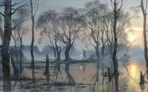 Picture forest, water, trees, landscape, river, art, Russia, Russia, flood