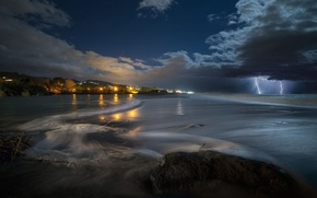 Picture sea, the storm, wave, light, clouds, lightning, Night, Italy