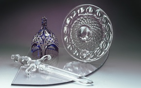 Picture glass, sword, crystal, helmet, shield, Gus ' -Khrustal'nyy, decorative composed