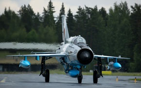 Wallpaper the airfield, MiG 21, fighter, the rise