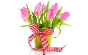 Picture vase, flowers, flowers, tape, bouquet, tulips, tulips, pink, fresh