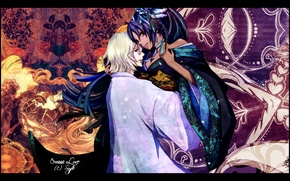 Picture flowers, patterns, hugs, kimono, two, Bleach, bleach, Bleach Urahara, Shihouin Yoruichi