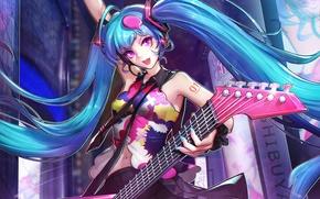 Picture girl, guitar, anime, art, Hatsune Miku, Vocaloid