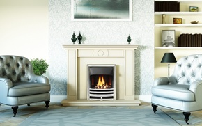 Picture design, style, room, interior, fireplace