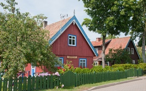 Picture street, houses, Lithuania, Klaipéda County