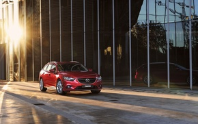 Picture the sun, background, the building, Mazda, Mazda, six, universal, Wagon, red.the front