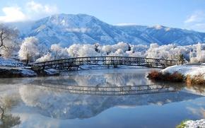 Picture winter, frost, snow, mountains, bridge, river, Nature