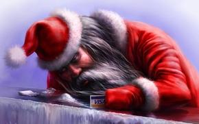 Picture winter, red, Santa, visa