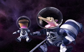 Picture cinema, Ice Age, stars, cartoon, movie, animal, planet, nuts, film, pose, squirrel, galaxies, cosmonaut, 20th ...