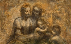 Picture London, Leonardo da Vinci, 1499-1500 National Gallery, Virgin and Child, St Anne, John the Baptist