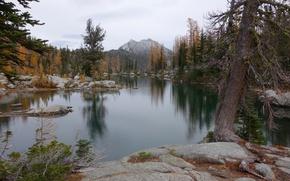 Picture autumn, the sky, trees, mountains, lake, stones, rocks