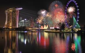 Picture night, skyscrapers, salute, Singapore, Ferris wheel, the hotel, megapolis, Singapore, Fireworks, Marina Bay Sands