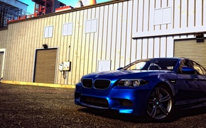 Picture blue, bmw, day, composition, spaceport, f10, the crew, wild run, m5