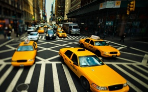 Picture road, street, focus, New York, taxi, New York, taxi