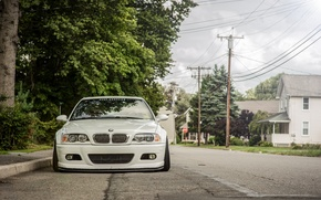 Picture white, street, BMW, BMW, before, white, tuning, E46