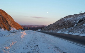 Picture winter, road, sunset, the moon, the evening, Russia, pass