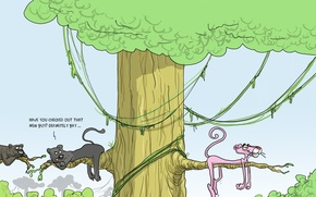 Wallpaper humor, caricature, Wulffmorgenthaler, the pink Panther