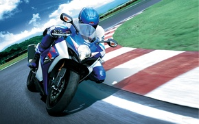 Picture the sky, grass, turn, tilt, turn, motorcycle, Suzuki, Suzuki, 1000, Superbike, the curb, GSX-R, racer.Speedway, ...