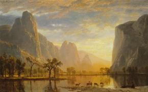 Picture animals, landscape, mountains, lake, picture, Yosemite Valley, Albert Bierstadt