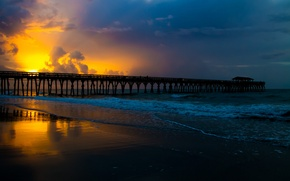 Picture sea, beauty, bridge, nature, landscape, sunset